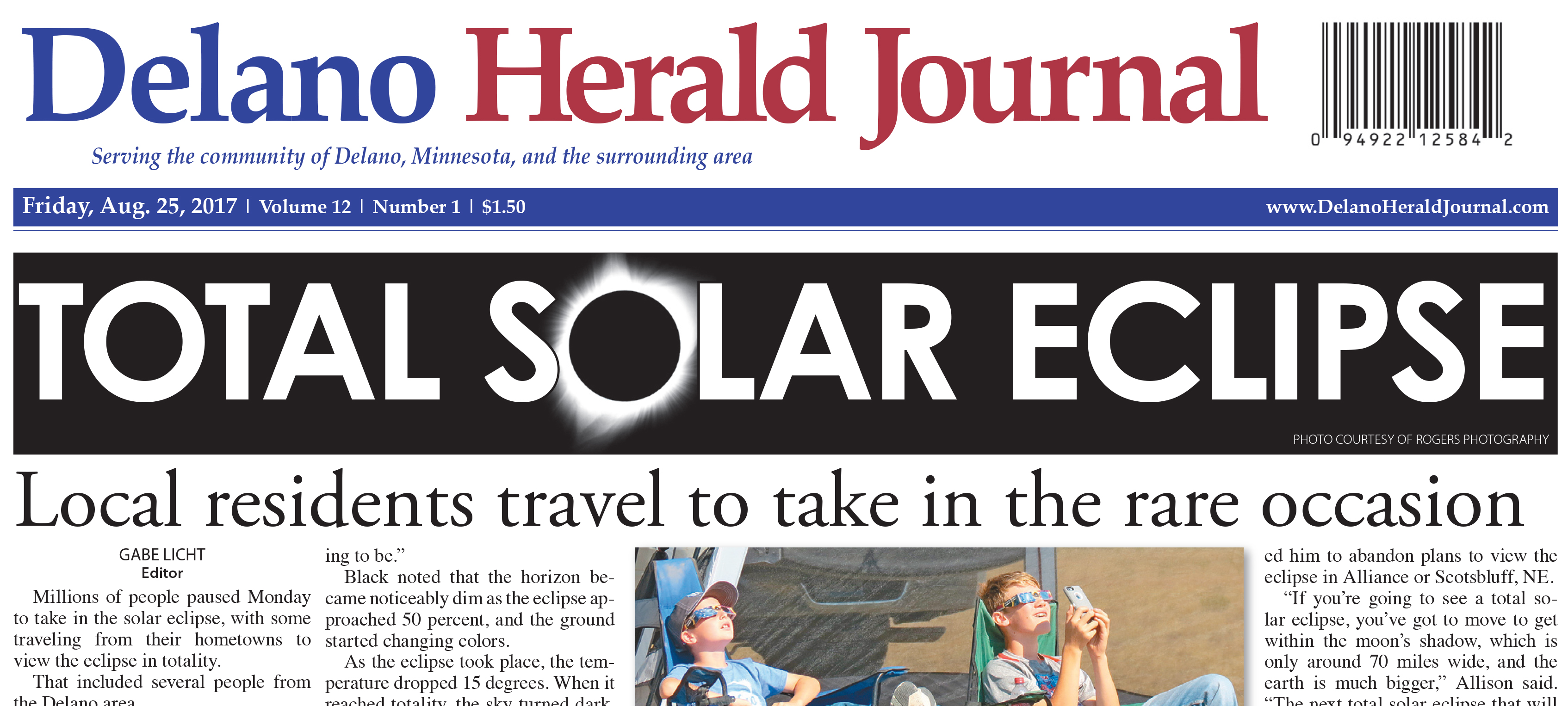 Delano Herald Journal - Eclipse image